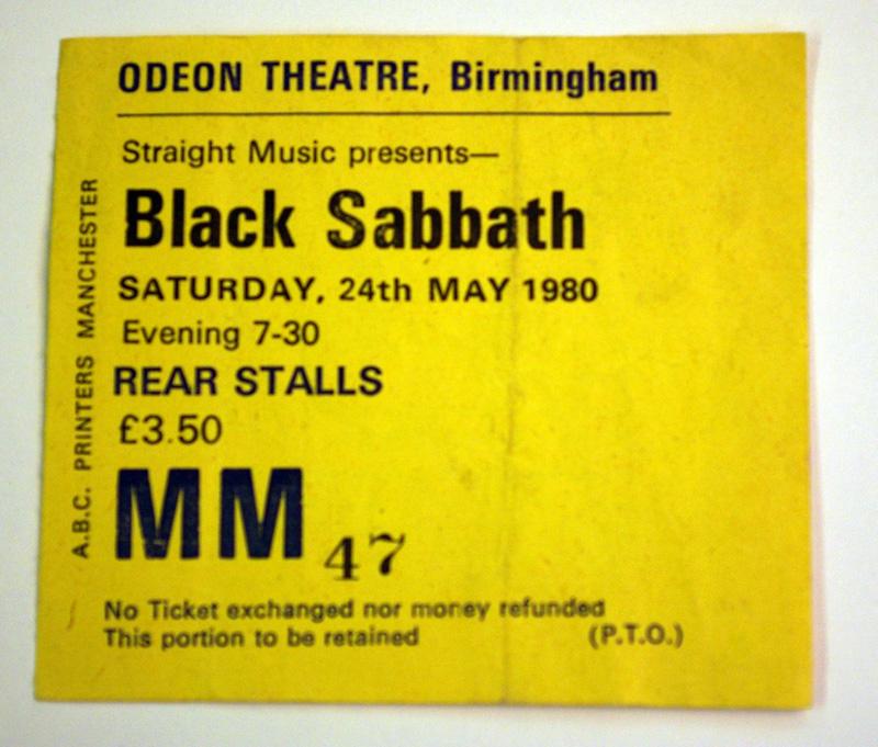 home of metal black sabbath odeon birmingham ticket. Black Bedroom Furniture Sets. Home Design Ideas