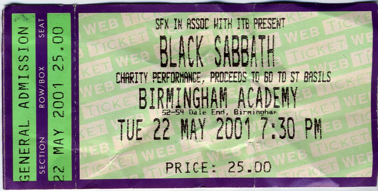 home of metal black sabbath ticket. Black Bedroom Furniture Sets. Home Design Ideas