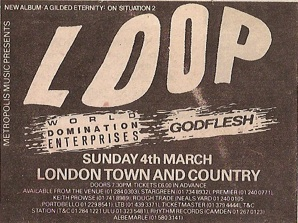 home of metal godflesh flyer supporting loop london town and country club march 4th 1990. Black Bedroom Furniture Sets. Home Design Ideas