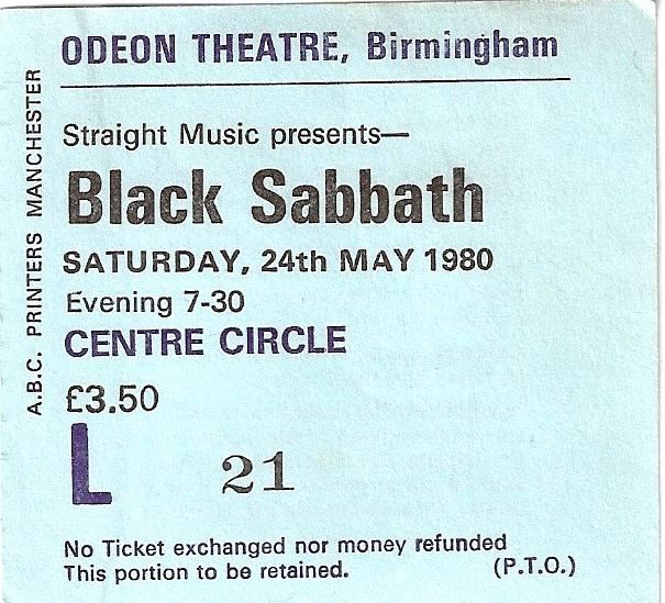 home of metal black sabbath ticket 1980. Black Bedroom Furniture Sets. Home Design Ideas