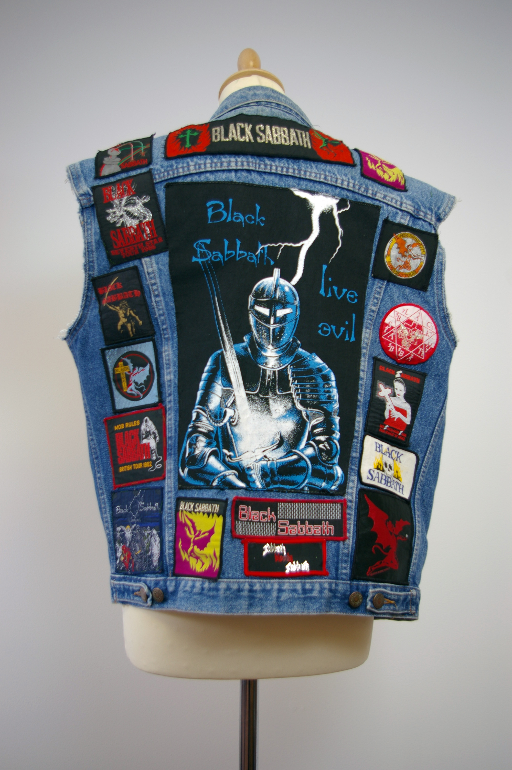 Home Of Metal Denim Waistcoat With Black Sabbath Patches